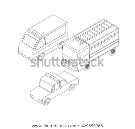 Stockfoto: Politie · kleur · schets · isometrische · iconen · ontwerp