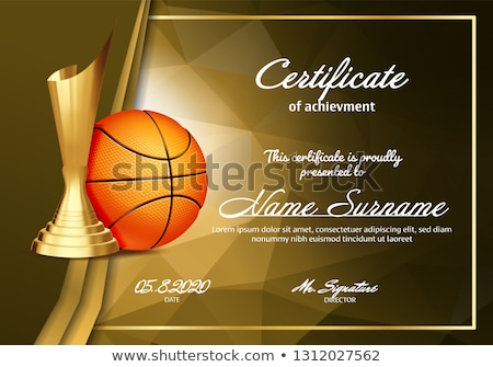 Basketball Certificate Diploma With Golden Cup Vector. Sport Award Template. Achievement Design. Hon Stock photo © pikepicture