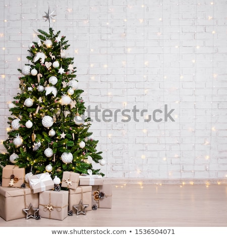 Decorated christmas studio. Background of brick wall. stock photo © studiolucky