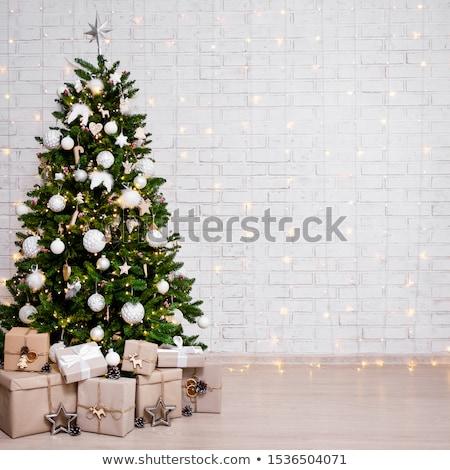 Decorado natal estúdio parede de tijolos árvores Foto stock © studiolucky