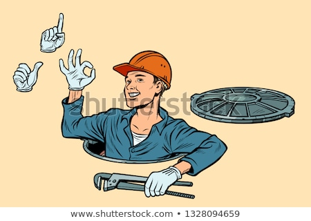 plumber in the manhole set of gestures okay attention like stock photo © studiostoks