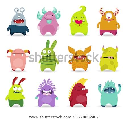 Stock photo: Black Comic cute monster vector set