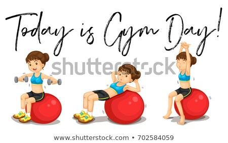Woman doing exercise with phrase today is gym day Stock photo © colematt
