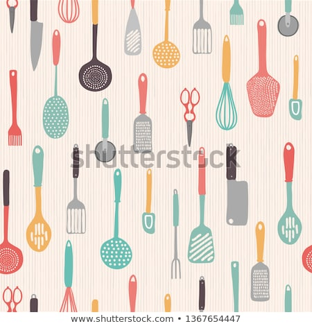 kitchen pattern with food and kitchenware stock photo © jossdiim
