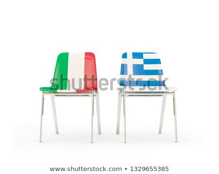 Two chairs with flags of Italy and greece Stock photo © MikhailMishchenko