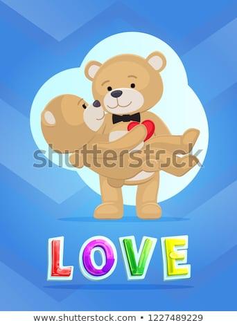 Pár plüssmackók szeretet vektor plakát Valentin nap Stock fotó © robuart