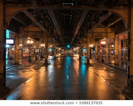 Feketefehér kilátás vasút vonat Chicago USA Stock fotó © vwalakte