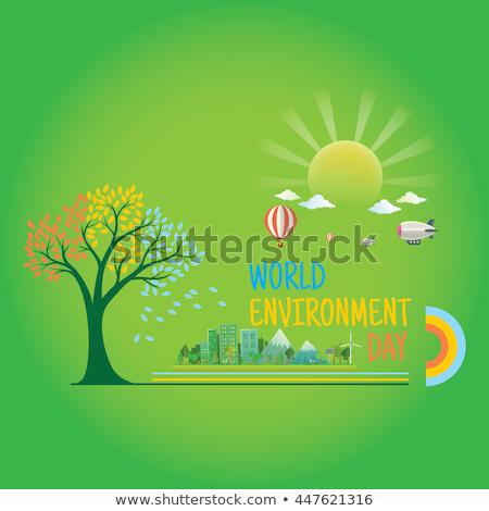 Boldog föld napja kártya zöld környezetbarát város Stock fotó © cienpies