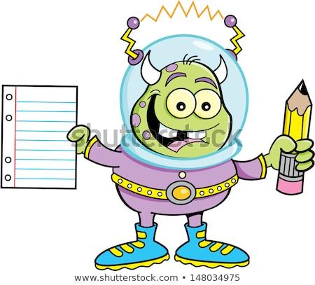 cartoon alien holding a paper and pencil stock photo © bennerdesign
