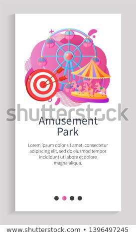 Round Attraction with Horses or Cabins Vector App Stock photo © robuart
