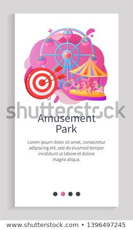 Atração cavalos vetor aplicativo parque de diversões cartaz Foto stock © robuart