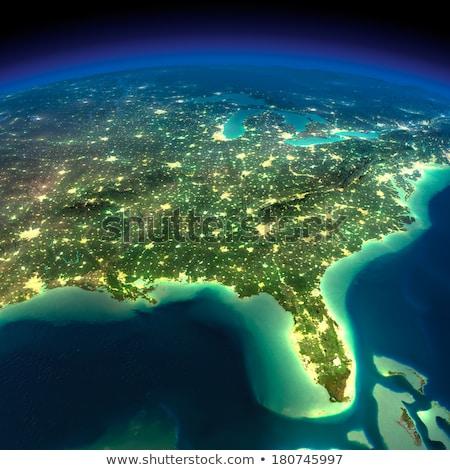 アメリカ合衆国 · 街の明かり · 地図 · 要素 · 画像 · 海 - ストックフォト © antartis