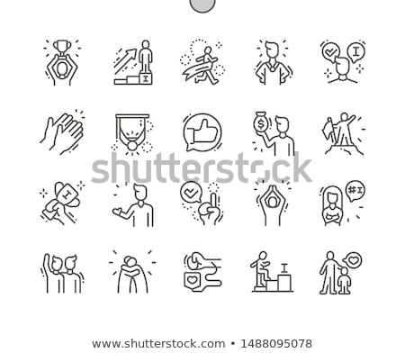 Stock photo: Pixel Characters with Trophy and Awards Victory