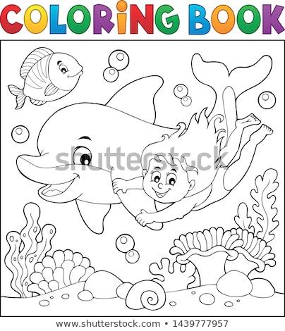 Kifestőkönyv lány delfin víz könyv boldog Stock fotó © clairev