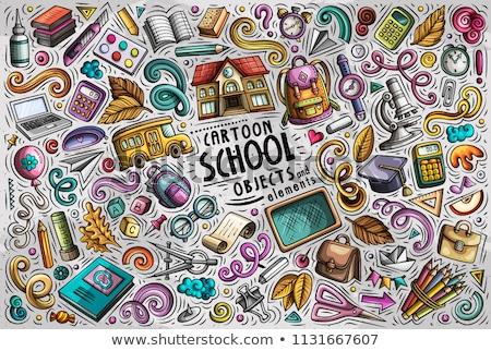Foto stock: Rabisco · desenho · animado · conjunto · outono · objetos · símbolos