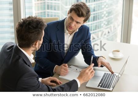 Stockfoto: Business · team · twee · uitvoerende · collega's · bespreken · analyse