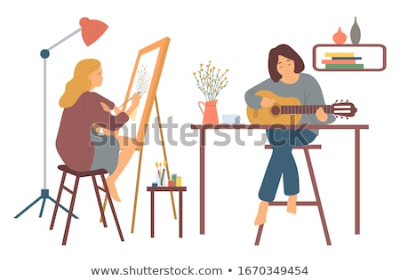 Photo stock: Guitariste · jouer · guitare · instrument · hobby · vecteur