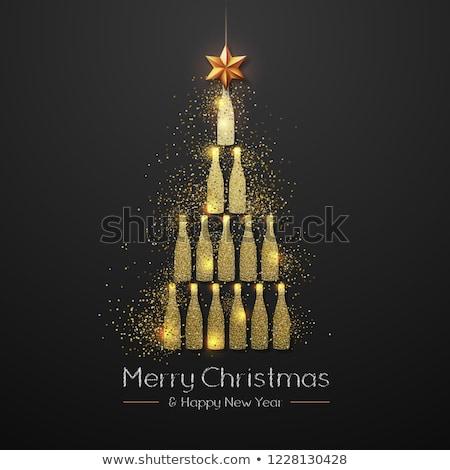 champagne bottle and christmas card stock photo © karandaev
