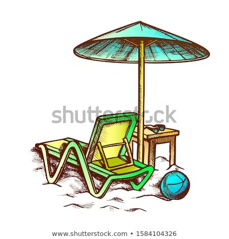 şezlong şemsiye dışkı Retro vektör güneş Stok fotoğraf © pikepicture