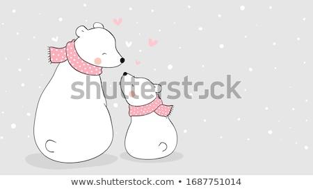красивой баннер полярный Медведи любви дизайна Сток-фото © balasoiu
