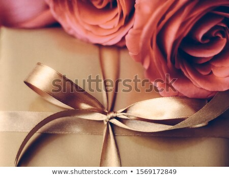 Valentines day present, luxury gift box and bouquet of roses wit Stock photo © Anneleven