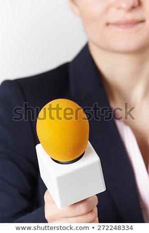 Abstract shot vrouwelijke journalist microfoon vrouw Stockfoto © HighwayStarz