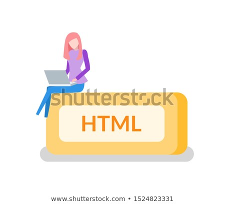 HTML Button, Woman Programmer with Laptop, Coding Stock photo © robuart