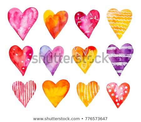 Watercolor blue heart with gold dots on white background Stock photo © Natalia_1947
