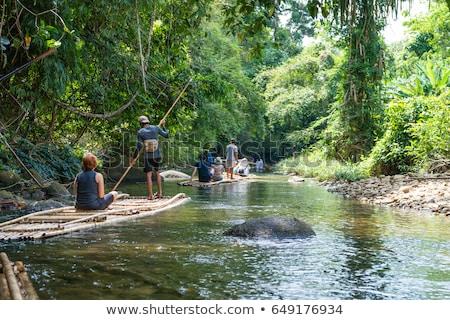 Bambù zattera tropicali acqua natura alberi Foto d'archivio © curaphotography