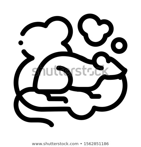 Rat in Smoke Icon Vector Outline Illustration Stock photo © pikepicture