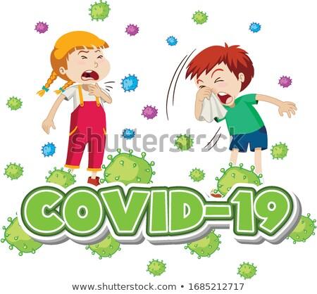 Stock photo: Poster design for coronavirus theme with two sick children
