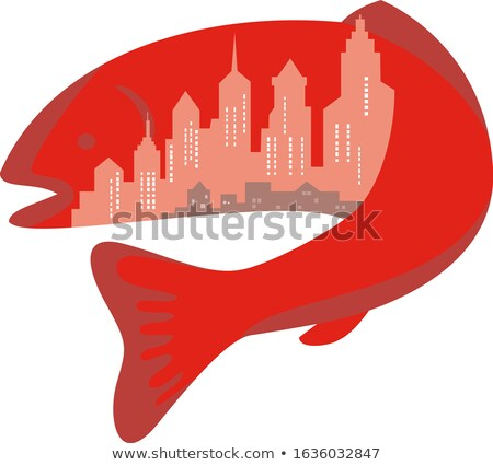 Trout With Building Skyline Inside Icon Stock photo © patrimonio