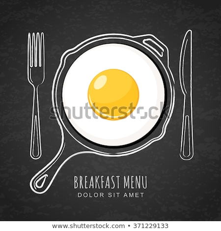 vector set of pans with breakfast food Stock photo © freesoulproduction