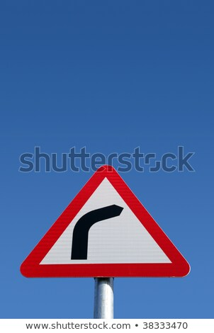 British road bend to right sign and a big blue sky. Stock photo © latent