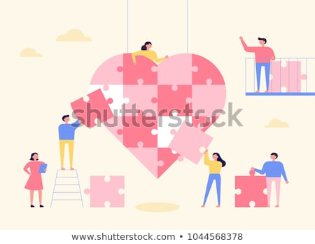 jigsaw puzzle heart, vector  Stock photo © beaubelle