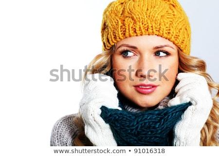 bonitinho · sorridente · menina · cachecol · boné - foto stock © rob_stark