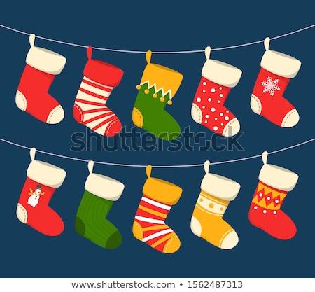 Рождества · чулок · зеленый · красный · белый - Сток-фото © mkm3