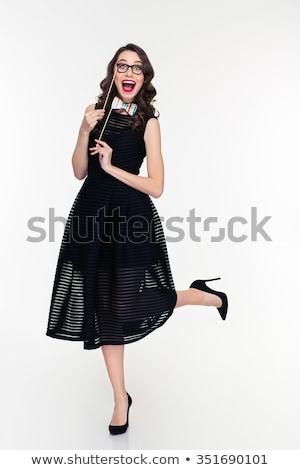 Сток-фото: Woman In Black Dress Playful Funny