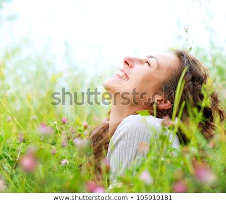 tavasz · portré · nő · fenséges · kék · szemek · kéz - stock fotó © lightpoet