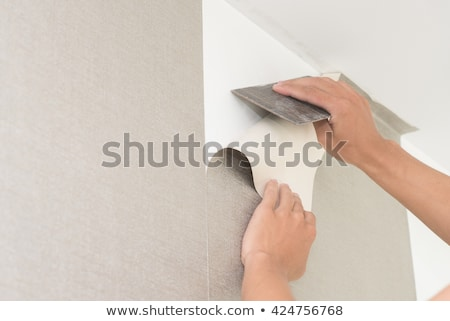 Man putting up wallpaper Stock photo © photography33
