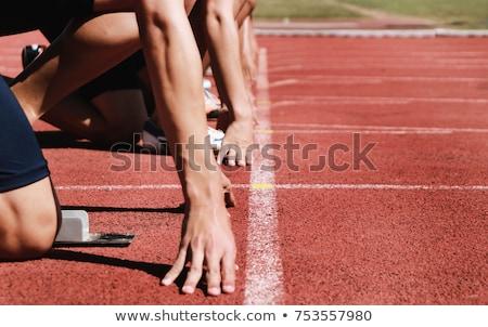 Klaar race teen atleet meisje sport Stockfoto © stevemc