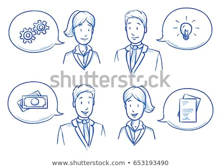 speech bubble with a man figure and innovation bulb drawn on a blackboard background stock photo © bbbar