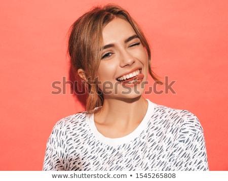 Dulce nina cara feliz sonrisa amor moda Foto stock © pedromonteiro