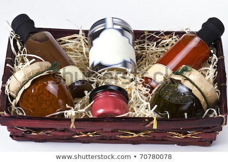 Arrangement of Salsa Sauce and Olive Oil Stock photo © zhekos