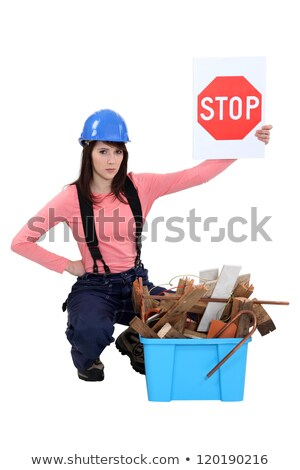 A female construction worker promoting ecology. Stock photo © photography33