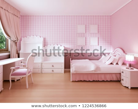 Baby girl room interior with white bed and pink curtains. stock photo © iriana88w