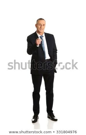 Positivo empresario senalando aislado blanco negocios Foto stock © wavebreak_media