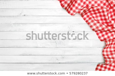 Rouge blanche nappe cadre cuisine noir Photo stock © AGorohov