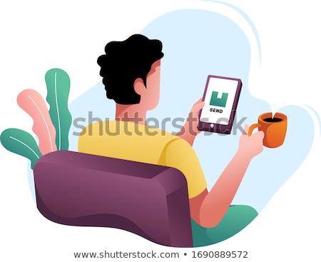 Stockfoto: Vrouw · telefoon · hand · geïsoleerd · gezicht · telefoon · gelukkig