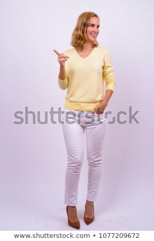 Mosolyog szőke nő másfelé néz fehér boldog áll Stock fotó © wavebreak_media